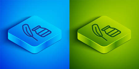 Isometric line Feather and inkwell icon isolated on blue and green background. Square button. Vector  イラスト・ベクター素材