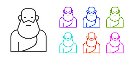 Black line Socrates icon isolated on white background. Sokrat ancient greek Athenes ancient philosophy. Set icons colorful. Vector