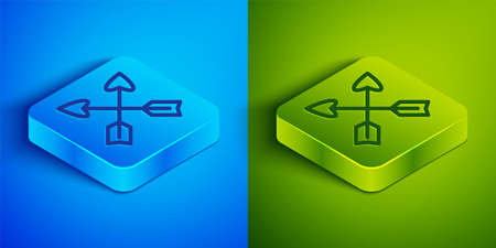 Isometric line Crossed arrows icon isolated on blue and green background. Square button. Vector