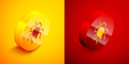 Isometric Spider icon isolated on orange and red background. Happy Halloween party. Circle button. Vector Ilustração