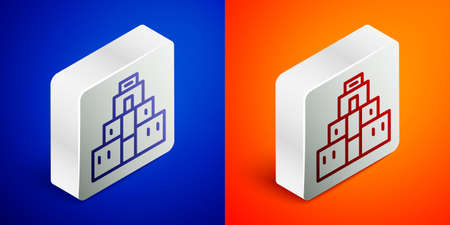 Isometric line Chichen Itza in Mayan icon isolated on blue and orange background. Ancient Mayan pyramid. Famous monument of Mexico. Silver square button. Vector