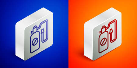 Isometric line Pressure sprayer for extermination of insects icon isolated on blue and orange background. Pest control service. Disinfectant sprayer. Silver square button. Vector