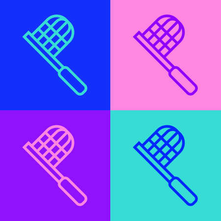 Pop art line Butterfly net icon isolated on color background. Vector Ilustrace