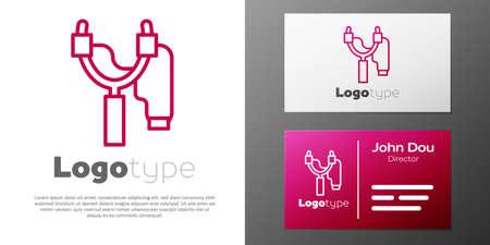 Logotype line Slingshot icon isolated on white background.