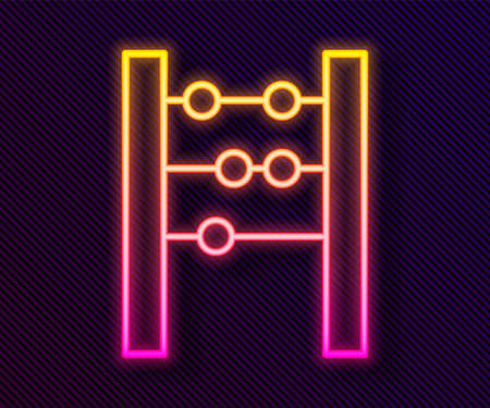 Glowing neon line Abacus icon isolated on black background. Traditional counting frame. Education sign. Mathematics school. Vector 일러스트