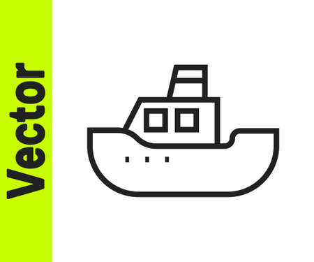 Black line Toy boat icon isolated on white background. Vector
