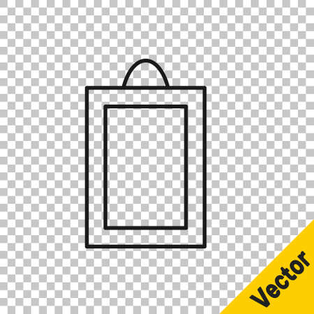 Black line Picture icon isolated on transparent background. Vector