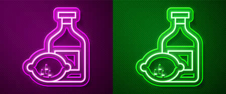 Glowing neon line Limoncello bottle icon isolated on purple and green background. Bottle of fresh homemade lemonade. Vector 向量圖像