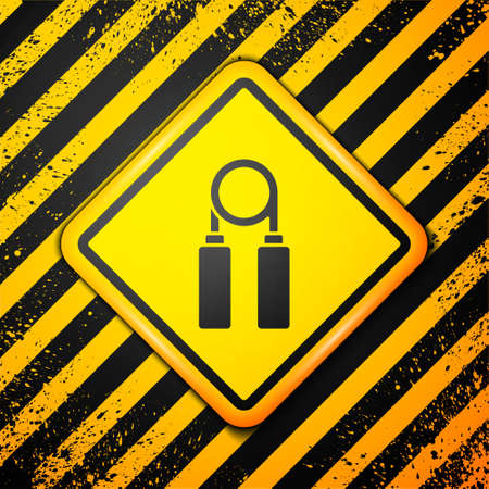 Black Sport expander icon isolated on yellow background. Sport equipment. Warning sign. Vector Illustration.