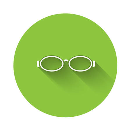 White Glasses for swimming icon isolated with long shadow. Goggles sign. Diving underwater equipment. Green circle button. Vector Illustration.