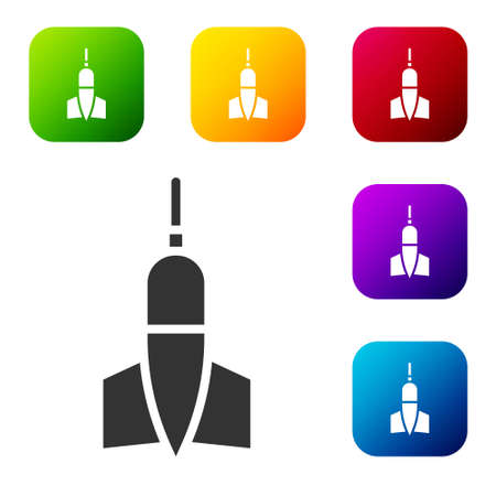 Black Dart arrow icon isolated on white background. Set icons in color square buttons. Vector Illustration. Ilustrace