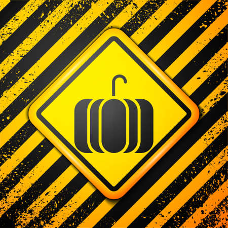 Black Pumpkin icon isolated on yellow background. Happy Halloween party. Warning sign. Vector Illustration. Ilustração