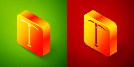 Isometric Pickaxe icon isolated on green and red background. Square button. Vector Illustration. Ilustração