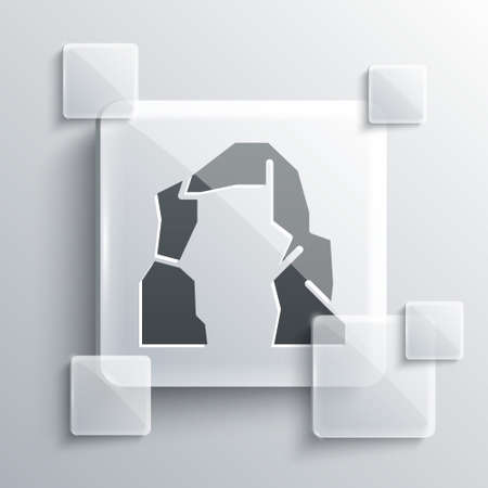 Grey Grand canyon icon isolated on grey background. National park in Arizona United States. Square glass panels. Vector Illustration.