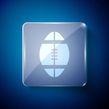 White Rugby ball icon isolated on blue background. Square glass panels. Vector Illustration.