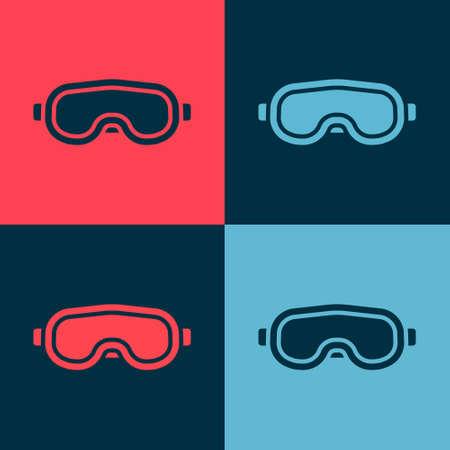 Pop art Ski goggles icon isolated on color background. Extreme sport. Sport equipment. Vector Illustration. Illusztráció