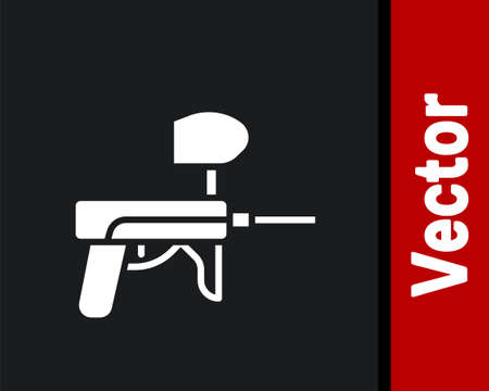 White Paintball gun icon isolated on black background. Vector Illustration.