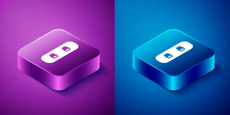 Isometric Snowboard icon isolated on blue and purple background. Snowboarding board icon. Extreme sport. Sport equipment. Square button. Vector Illustration.