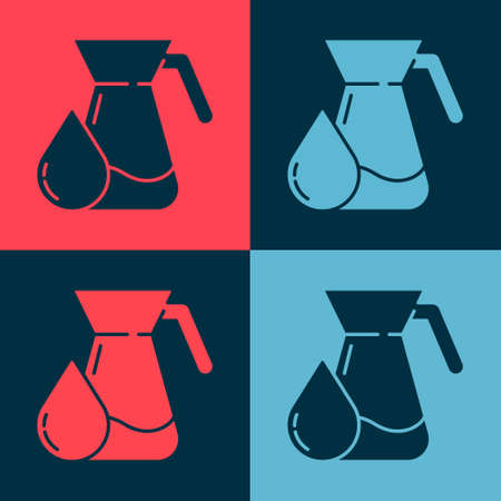 Pop art Jug glass with water icon isolated on color background. Kettle for water. Glass decanter with drinking water. Vector Illustration. Illusztráció