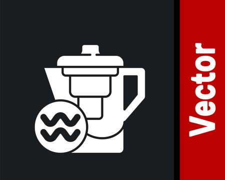 White Water jug with a filter icon isolated on black background. Vector Illustration.