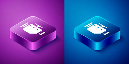 Isometric Check engine icon isolated on blue and purple background. Square button. Vector Illustration. Illusztráció