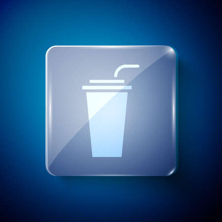 White Paper glass with drinking straw and water icon isolated on blue background. Soda drink glass. Fresh cold beverage symbol. Square glass panels. Vector Illustration. Stock fotó - 151115113