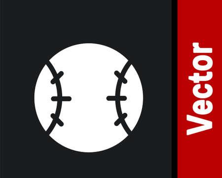 White Baseball ball icon isolated on black background. Vector Illustration. Ilustração