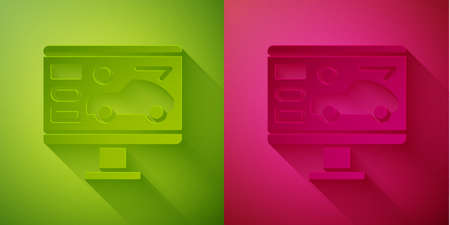 Paper cut Hardware diagnostics condition of car icon isolated on green and pink background. Car service and repair parts. Paper art style. Vector Illustration.