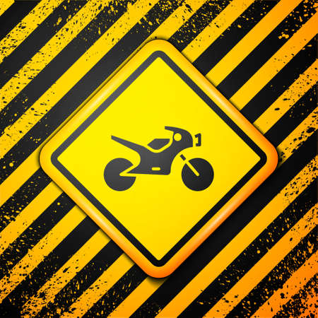 Black Motorcycle icon isolated on yellow background. Warning sign. Vector Illustration.