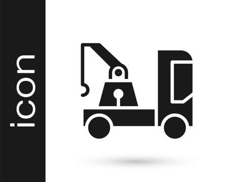 Grey Tow truck icon isolated on white background.  Vector Illustration.