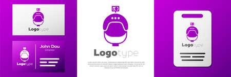Logotype Helmet and action camera icon isolated on white background. Illusztráció