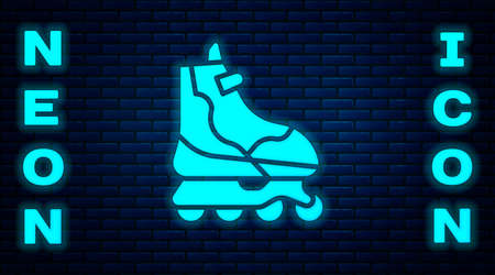 Glowing neon Roller skate icon isolated on brick wall background. Vector Illustration. Vettoriali