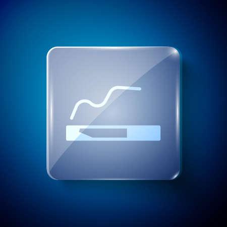 White Cigarette icon isolated on blue background. Tobacco sign. Smoking symbol. Square glass panels. Vector Illustration. Illusztráció
