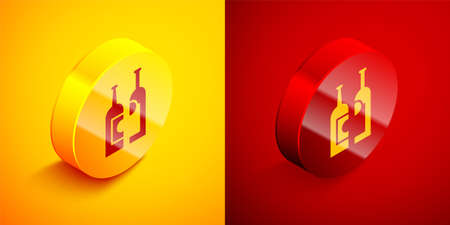 Isometric Bottles of wine icon isolated on orange and red background. Circle button. Vector Illustration.  イラスト・ベクター素材