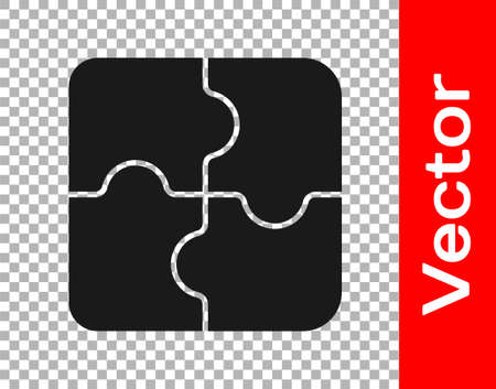 Black Piece of puzzle icon isolated on transparent background. Business, marketing, finance, template, layout, infographics, internet concept. Vector Illustration. Illusztráció