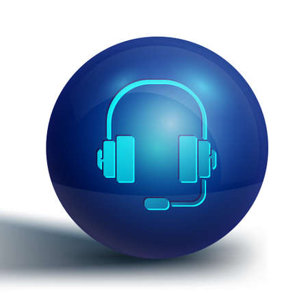 Blue Headphones icon isolated on white background. Support customer service, hotline, call center, faq, maintenance. Blue circle button. Vector Illustration.