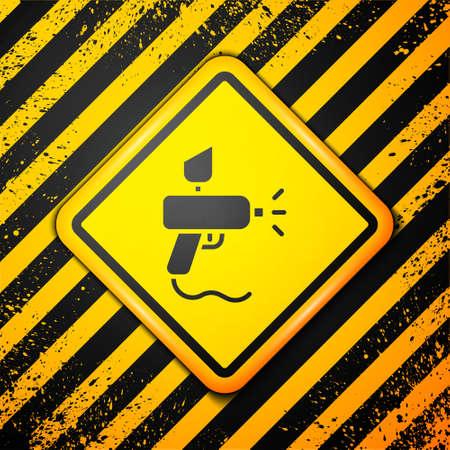 Black Paint spray gun icon isolated on yellow background. Warning sign. Vector Illustration.