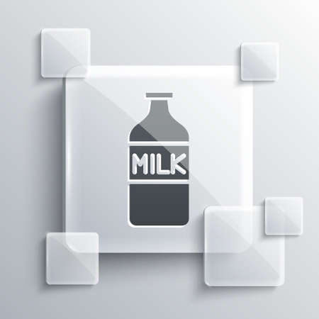 Grey Closed glass bottle with milk icon isolated on grey background. Square glass panels. Vector Illustration.