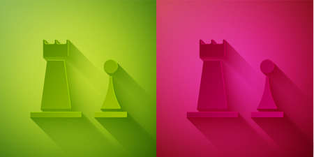 Paper cut Chess icon isolated on green and pink background. Business strategy. Game, management, finance. Paper art style. Vector Illustration. Ilustracja