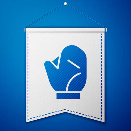 Blue Baseball glove icon isolated on blue background. White pennant template. Vector Illustration.