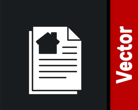 White House contract icon isolated on black background. Contract creation service, document formation, application form composition. Vector Illustration. Ilustração