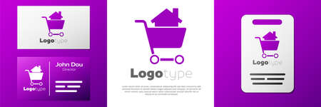 Logotype Shopping cart with house icon isolated on white background. Buy house concept. Home loan concept, rent, buying a property. Ilustração