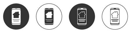 Black Online real estate house on smartphone icon isolated on white background. Home loan concept, rent, buy, buying a property. Circle button. Vector Illustration. Ilustração