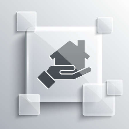 Grey Realtor icon isolated on grey background. Buying house. Square glass panels. Vector Illustration.