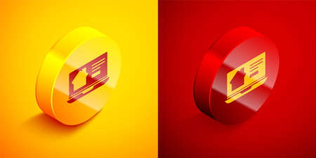 Isometric Online real estate house on laptop icon isolated on orange and red background. Home loan concept, rent, buy, buying a property. Circle button. Vector Illustration.