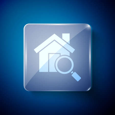 White Search house icon isolated on blue background. Real estate symbol of a house under magnifying glass. Square glass panels. Vector Illustration.