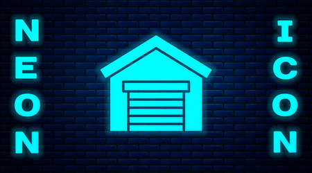 Glowing neon Garage icon isolated on brick wall background. Vector Illustration.