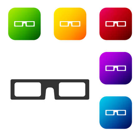 Black cinema glasses icon isolated on white background. Set icons in color square buttons. Vector Illustration.
