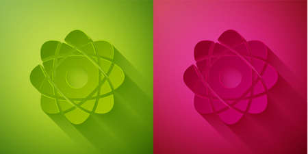 Paper cut Atom icon isolated on green and pink background. Symbol of science, education, nuclear physics, scientific research. Paper art style. Vector Illustration.
