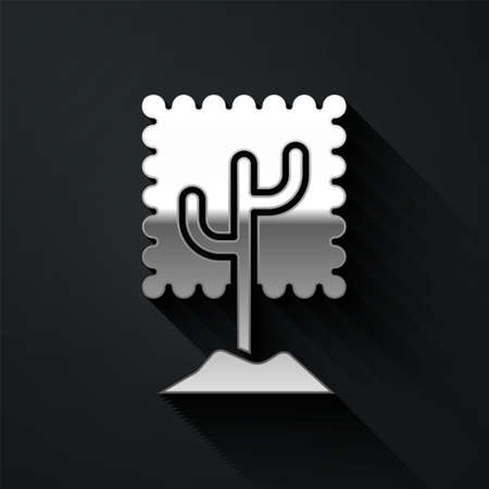 Silver Tree icon isolated on black background. Forest symbol. Long shadow style. Vector Illustration.